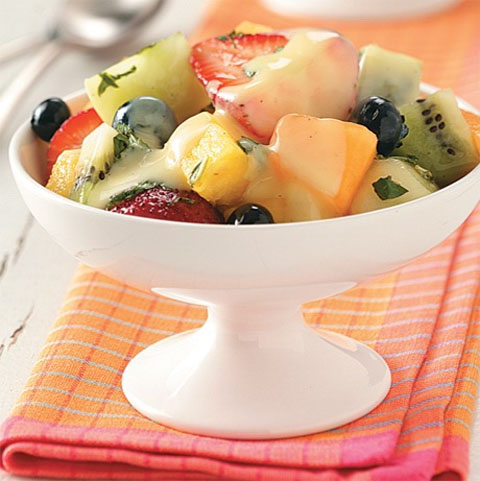 Fruit salad with custard